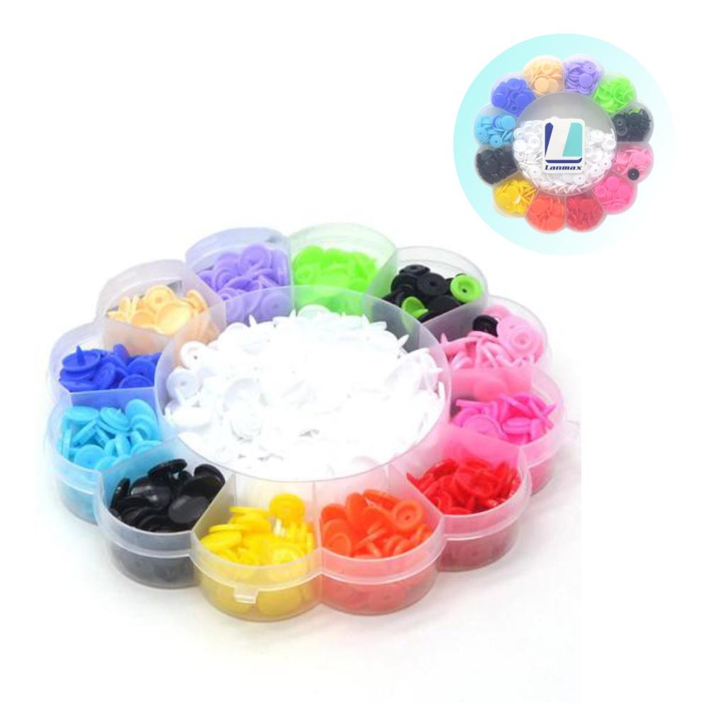 180 Botão Pressão Plástico Lanmax N°12 - Kit Estojo Colorido