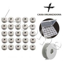 Kit 25 Bobinas Aluminio P/ Maquina Reta Industrial + Estojo