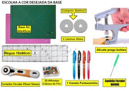 Kit Base De Corte A2 60x45 + Régua 15x60 + Alicate Prega Botões