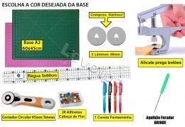 Kit Base De Corte A2 60x45 + Régua 5x60 + Alicate Prega Botões