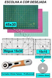 Kit Base De Corte A3 45x30 + Régua 15x30 + Régua 15x15 + Cortador 45mm