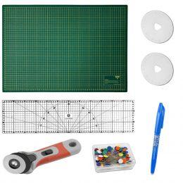 Kit Base De Corte VERDE 45x60 + Régua 15x60 + Cortador 45 mm + Itens Patchwork