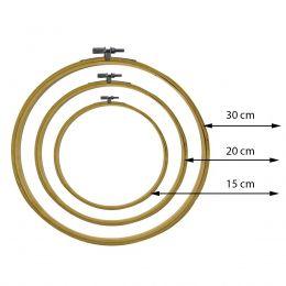 Kit Bastidor Madeira Com Tarraxa - 3 Tamanhos 15 20 e 30 cm
