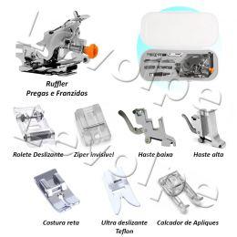 Kit Calcador Frufru Pregas Franzidos + Ziper Invisivel 8 Pcs