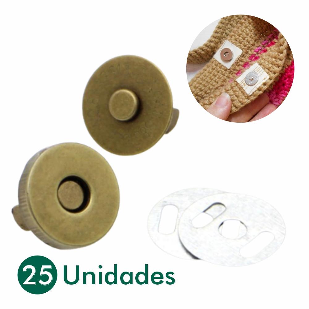 25 Botões Imã Magnéticos Dourado Latonado 18mm Ouro Velho