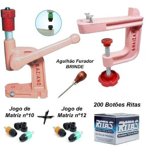 Balancim Rosa Pregar Botão + Suporte + Matrizes + 200 Botões