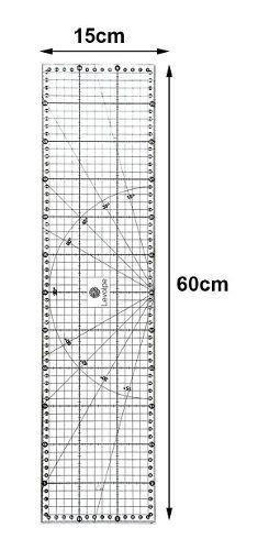 Kit Base De Corte Rosa 60x45 + Régua 60 + Cortador + Tesoura + Porta Alfinete Magnético + Alicate Prega Botões