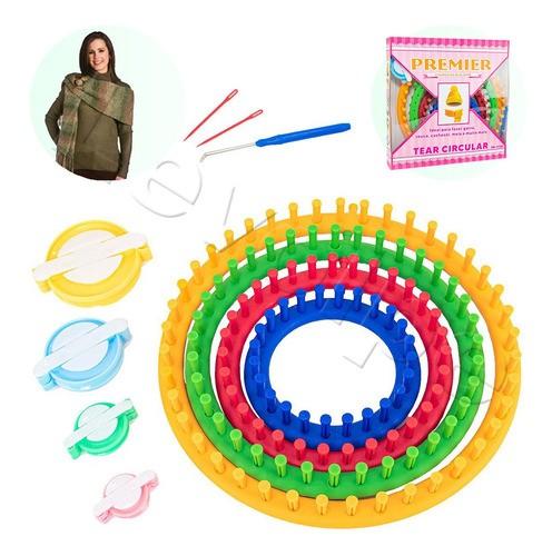 4 Tear Circular Plástico Colorido Gorro Touca Cachecol Tricô