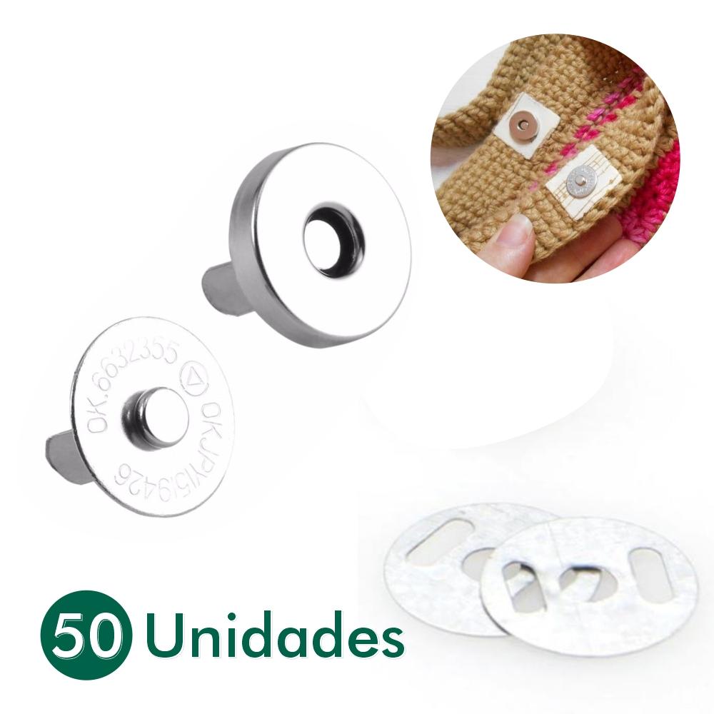 50 Botões Imã Magnético Niquelado 14mm Bolsa Carteira Tecido