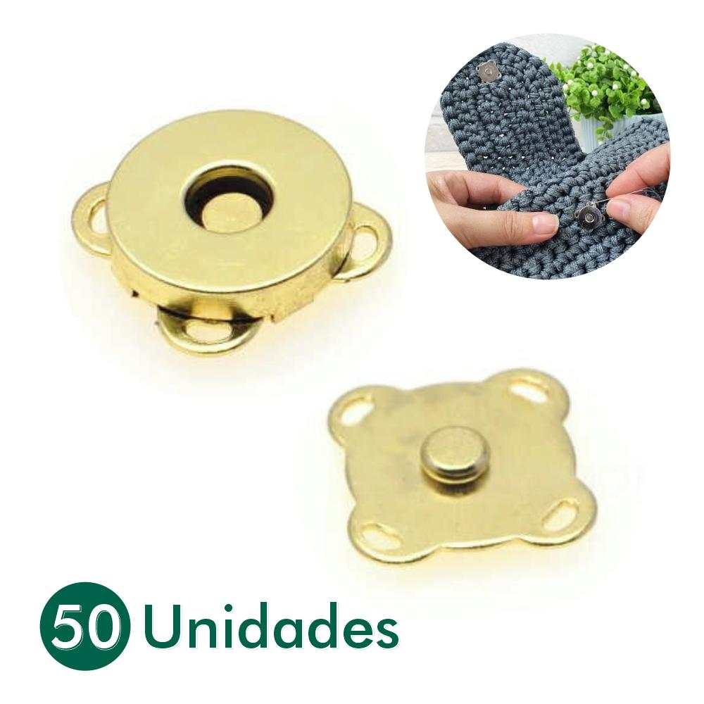 50 Botões Magnéticos Fecho Ímã De Costura Latonado 14mm