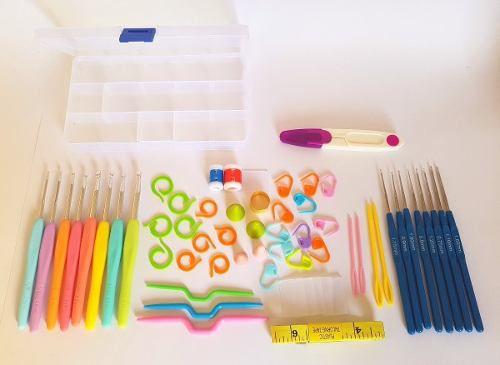 Kit Crochê 16 Agulhas Com Acessórios E Case