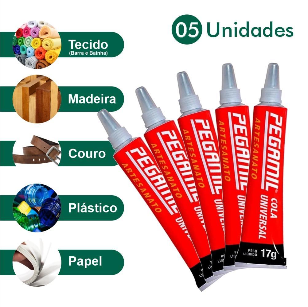5 Colas Pegamil Artesanato Couro Madeira Plástico Patchwork