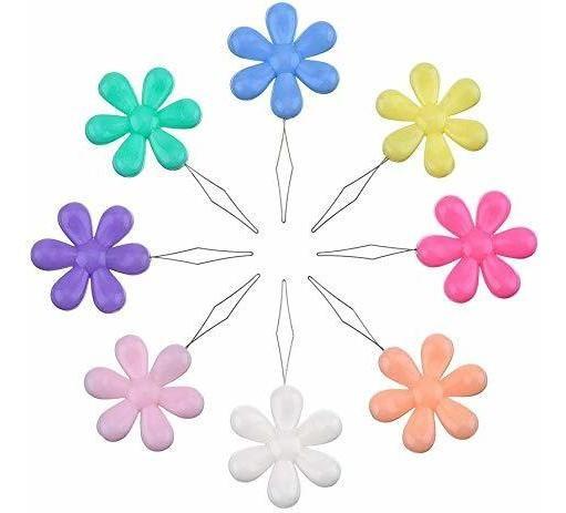 6 Passador Colocador Linha Em Agulha Costura Flor Coloridos