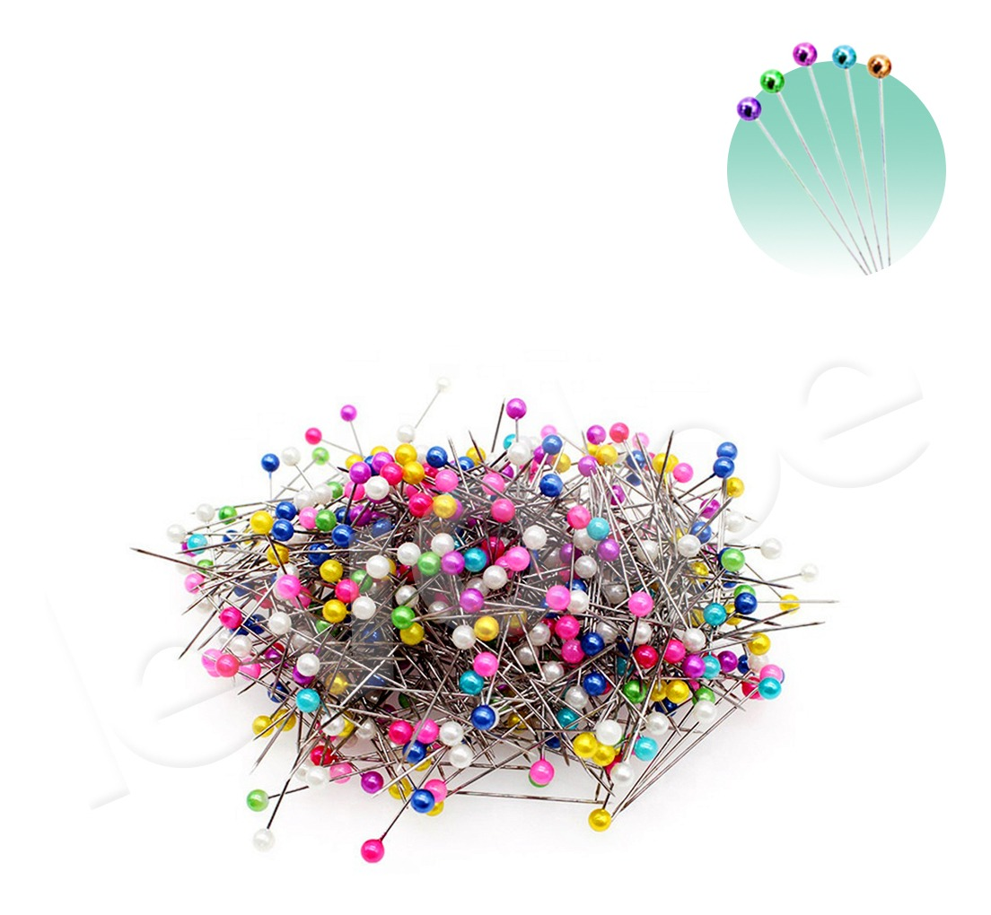 Alfinetes Cabeça Bola Perolado Aproximadamente 800 Unidades