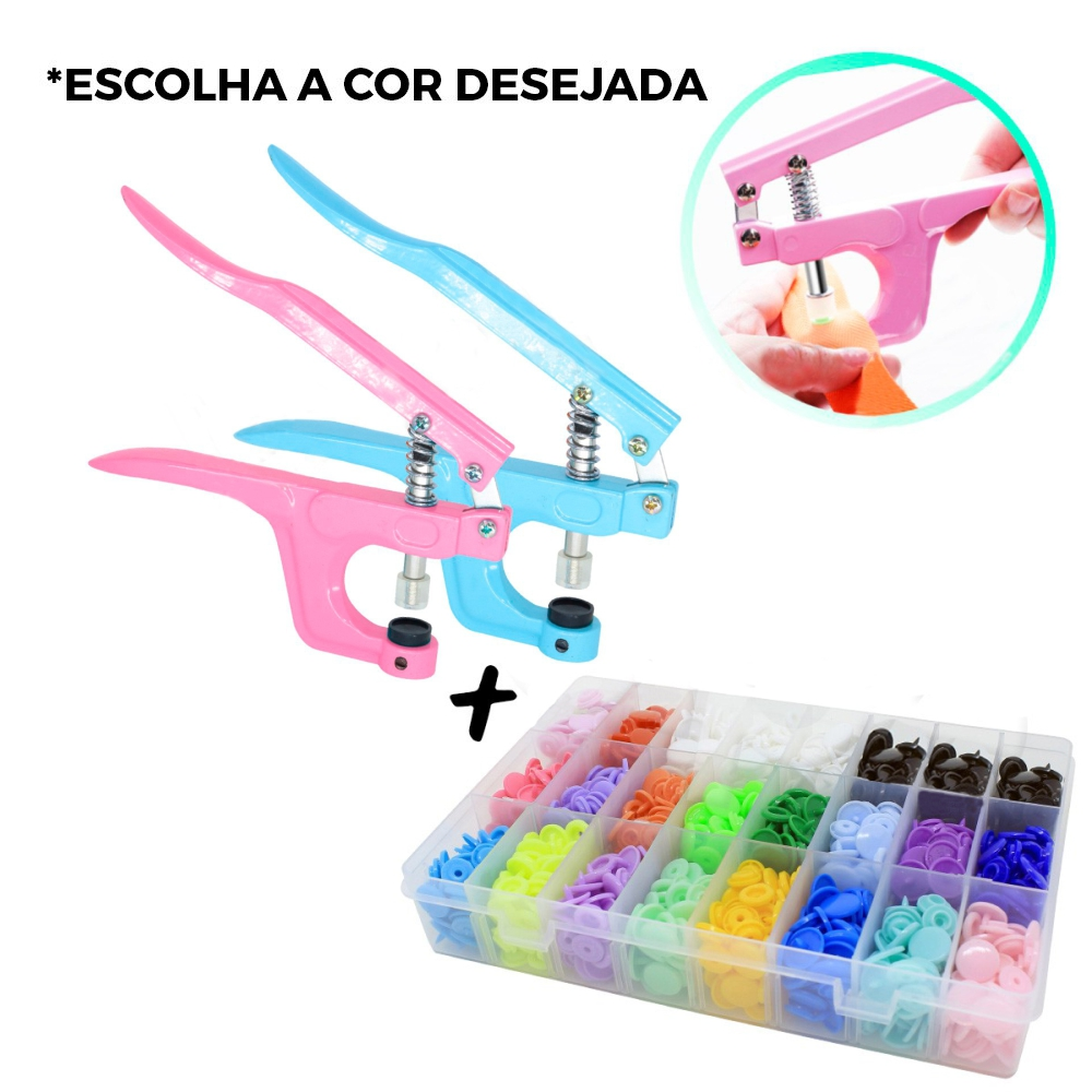 Alicate Pressão Pregar Botão Plastico Colorido + Kit 360 Botões N12