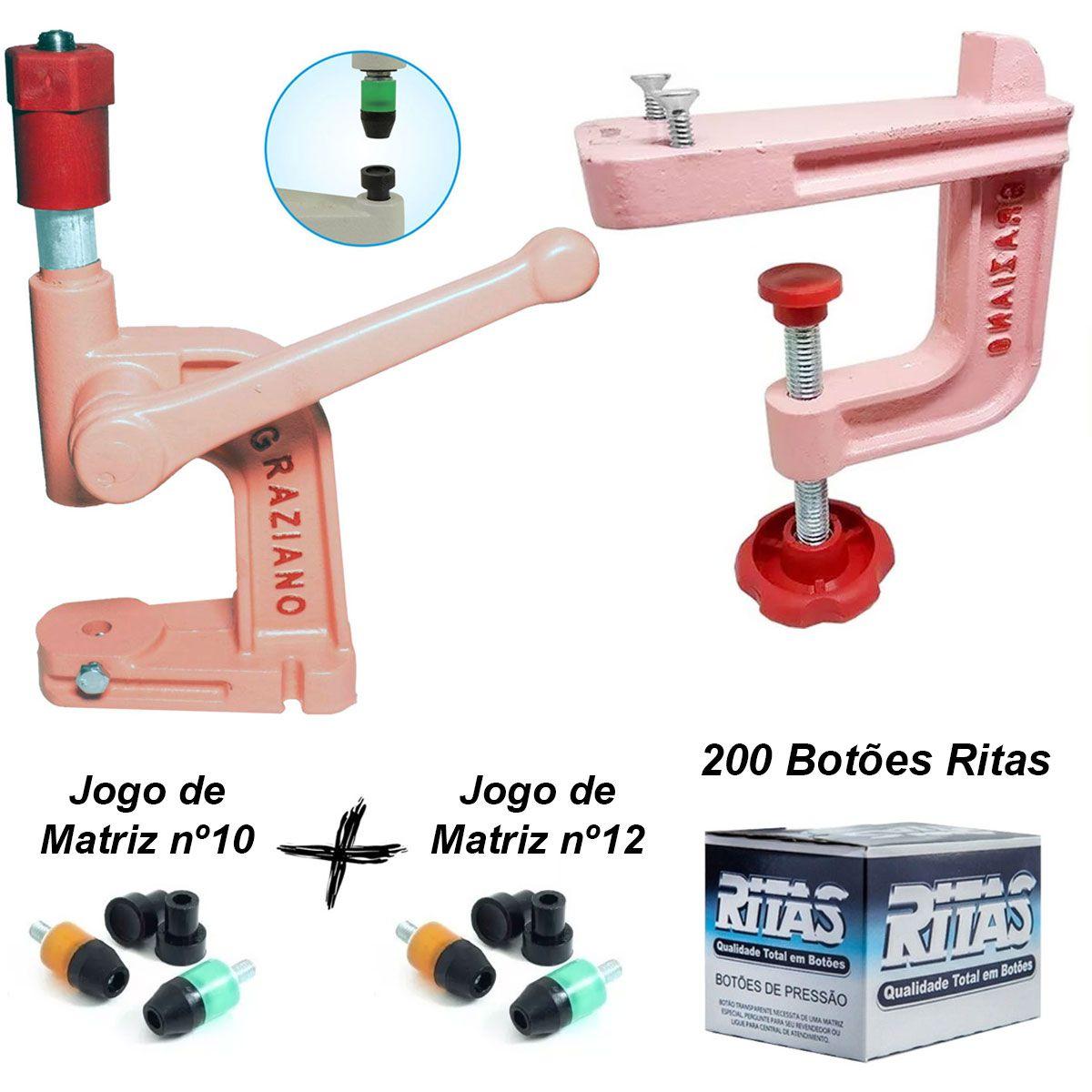 Balancim Pregar Botão + Suporte + Matrizes + 200 Botões Kit