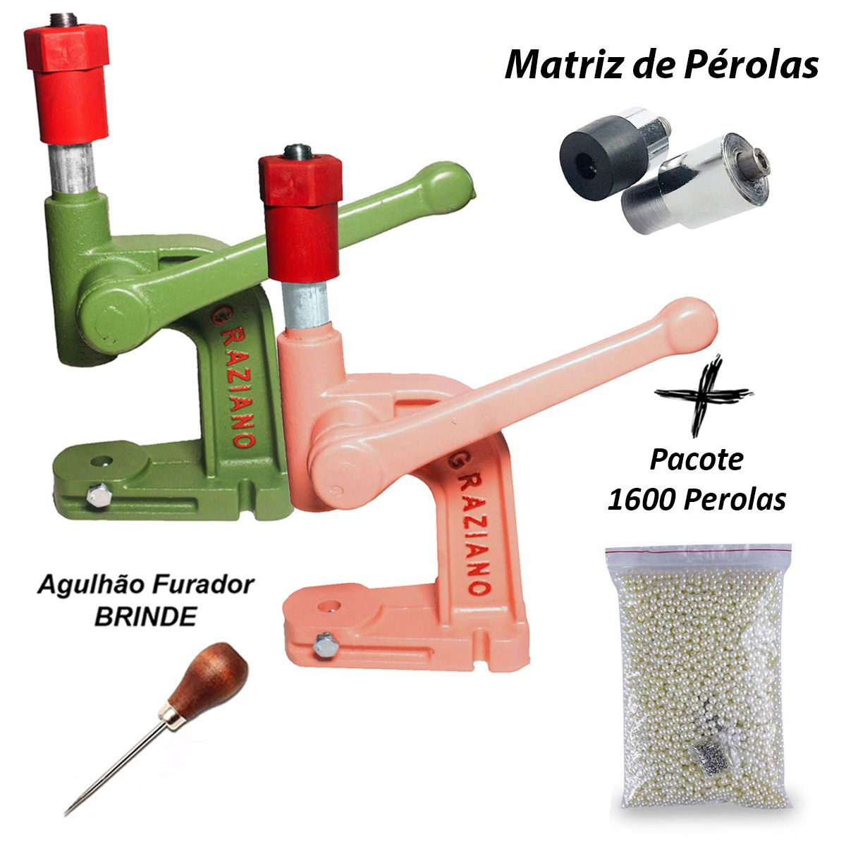 Balancim Rosa Aplicar Perola + Matriz 8mm + 1600 Perolas