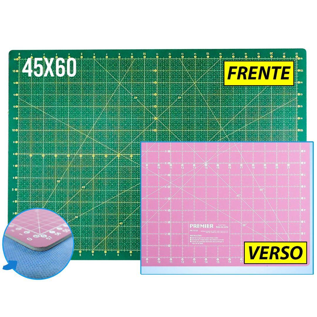 Base De Corte A2 60x45 Para Patchwork Dupla Face Verde e Rosa