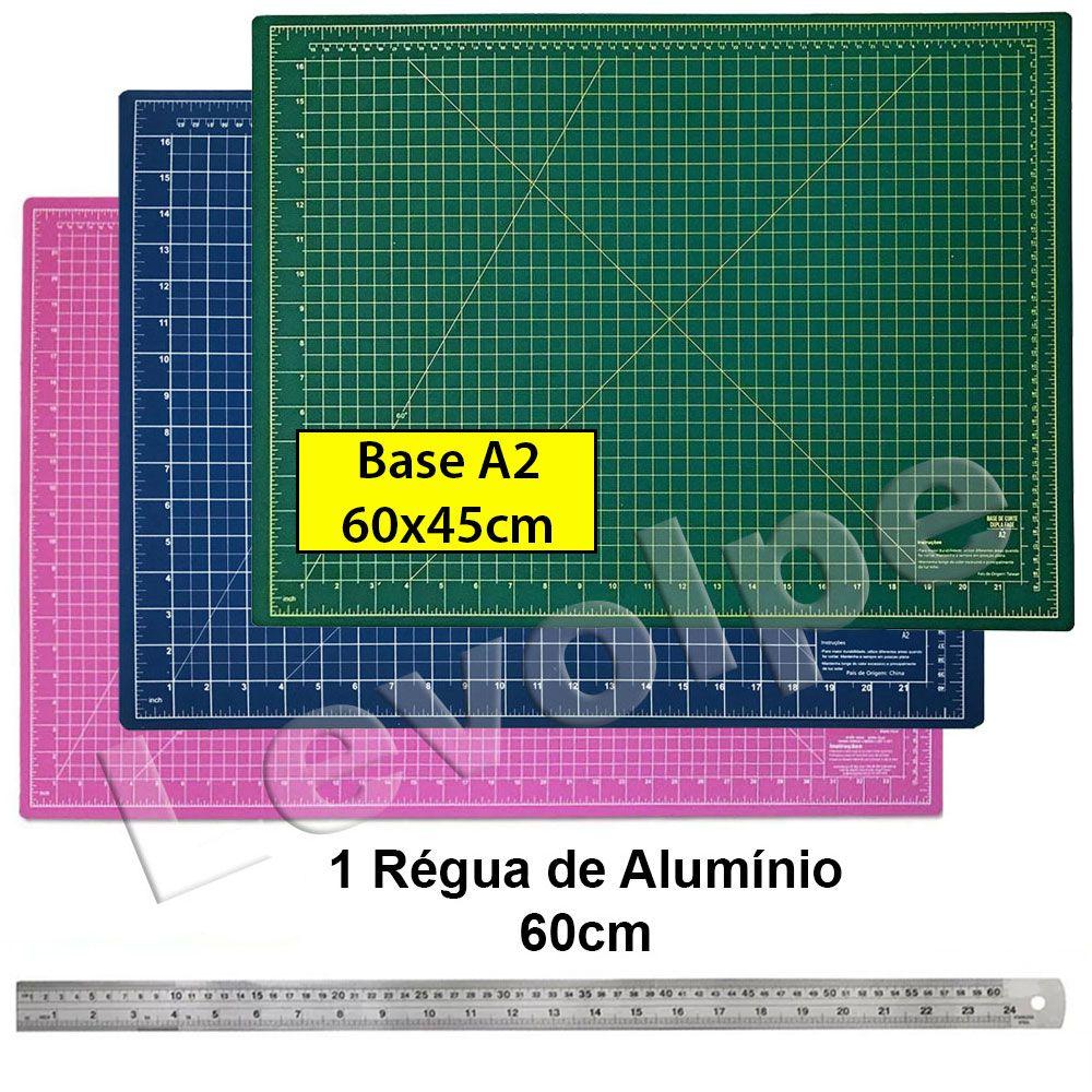 Base De Corte A2 60x45 + Régua de Metal 60cm Patchwork