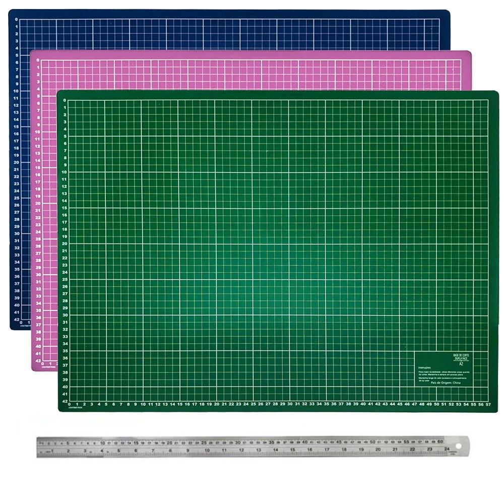 Base De Corte A2 60x45 + Régua de Metal 60cm Patchwork Scrapbook