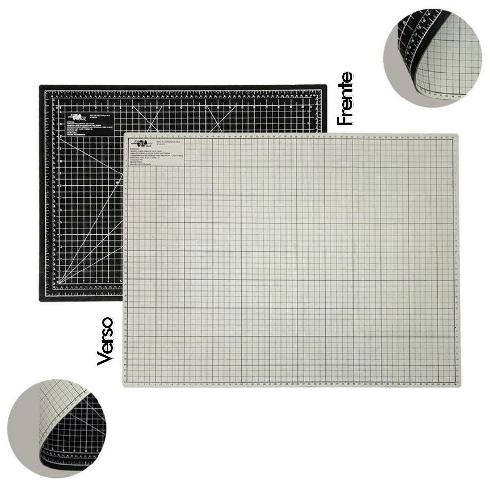 Base de Corte A2 Dupla Face 60x45cm Preto e Cinza Patchwork Scrapbook