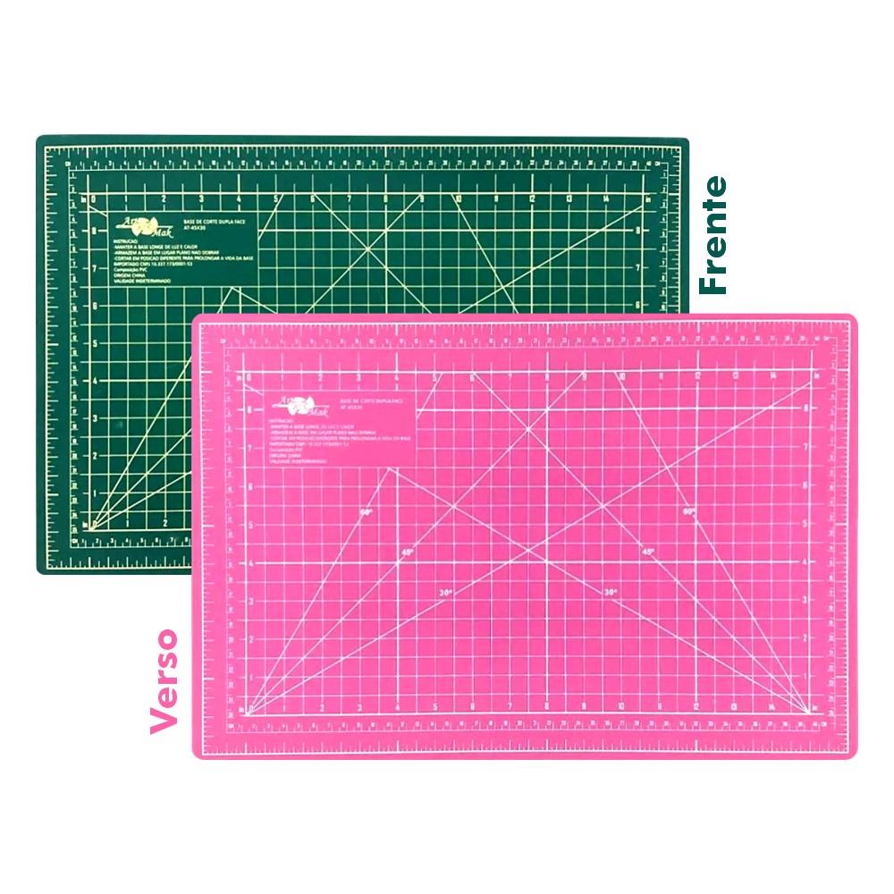 Base de Corte A3 45x30cm Verde e Rosa Patchwork Scrapbook