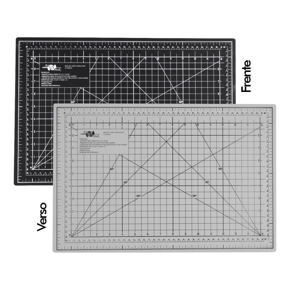 Base de Corte A3 Dupla Face 45x30cm Preto e Cinza Patchwork Scrapbook