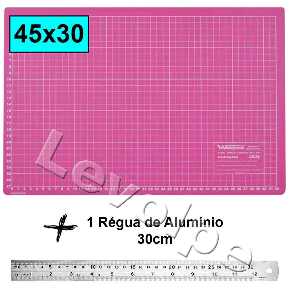 Base De Corte Rosa A3 45x30 + Régua Metal 30cm Patchwork