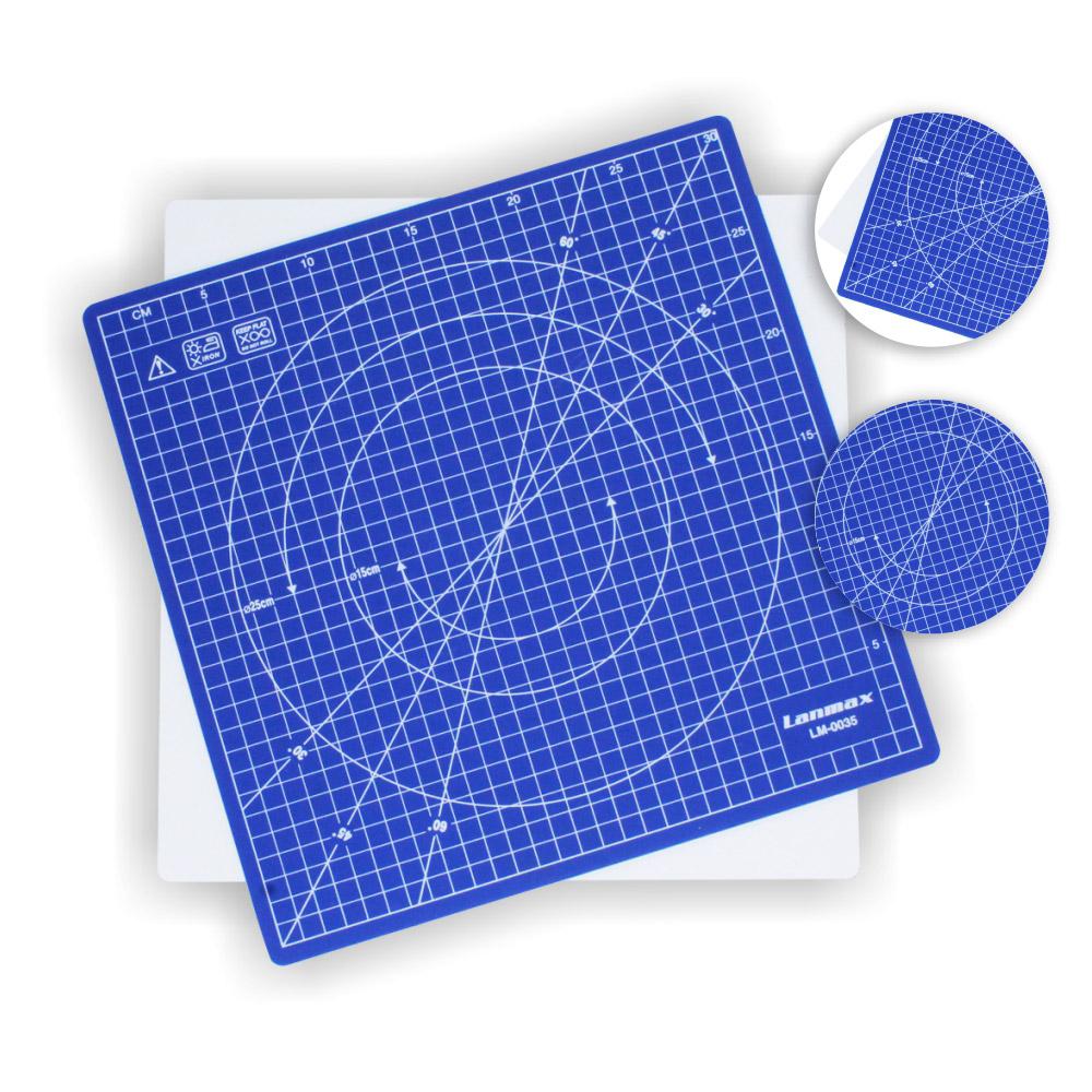Base De Corte Rotativa 360º 30x30cm Patchwork Scrapbook Azul