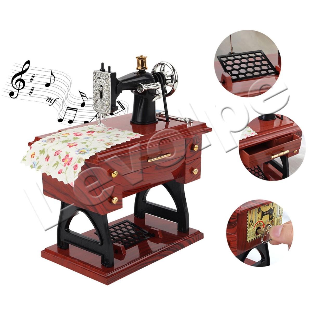 Caixinha De Musica Porta Jóia Mini Maquina De Costura