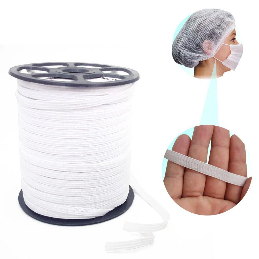 Elástico Para Fazer Mascara Kit 200 Metros Branco - 5mm