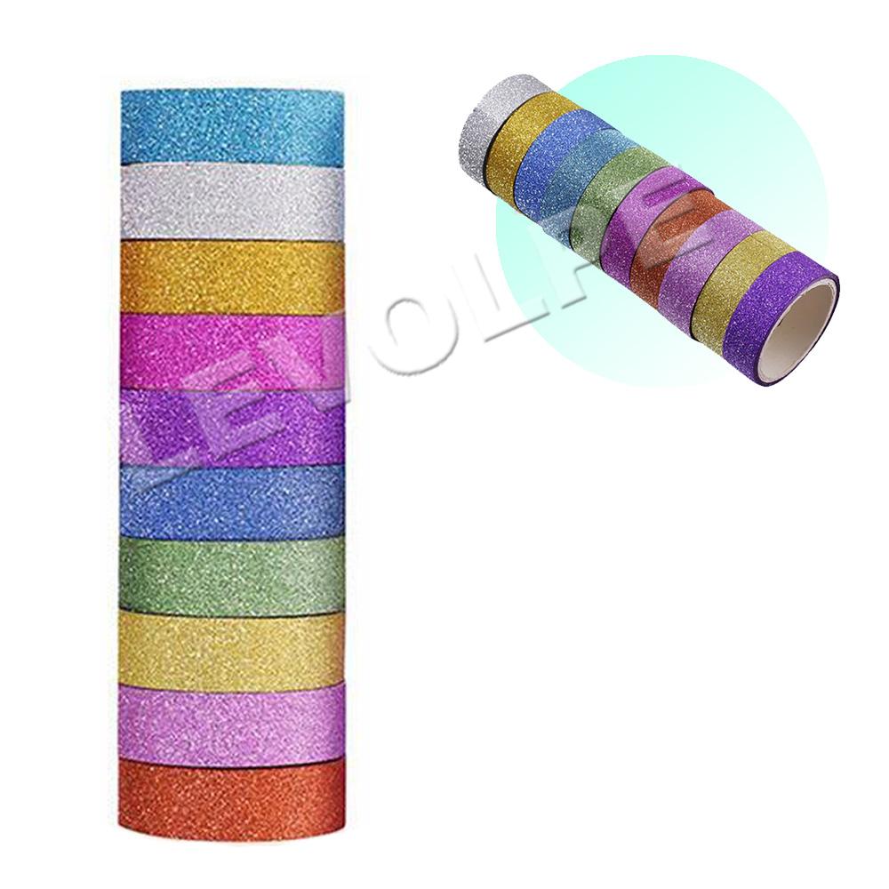 Fita Adesiva Decorativa Glitter Washi Tape Scrapbook 10 Unid