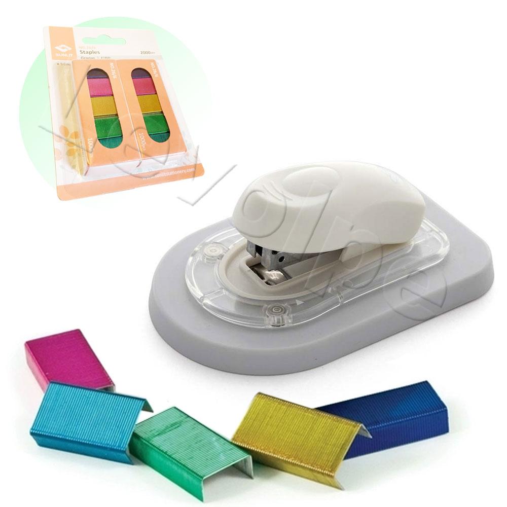 Grampeador Magnético Encadernação + 2000 Grampos Coloridos