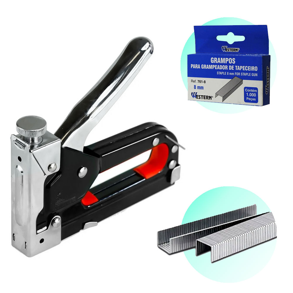 Grampeador Tapeceiro Profissional + 1000 Grampos 8mm