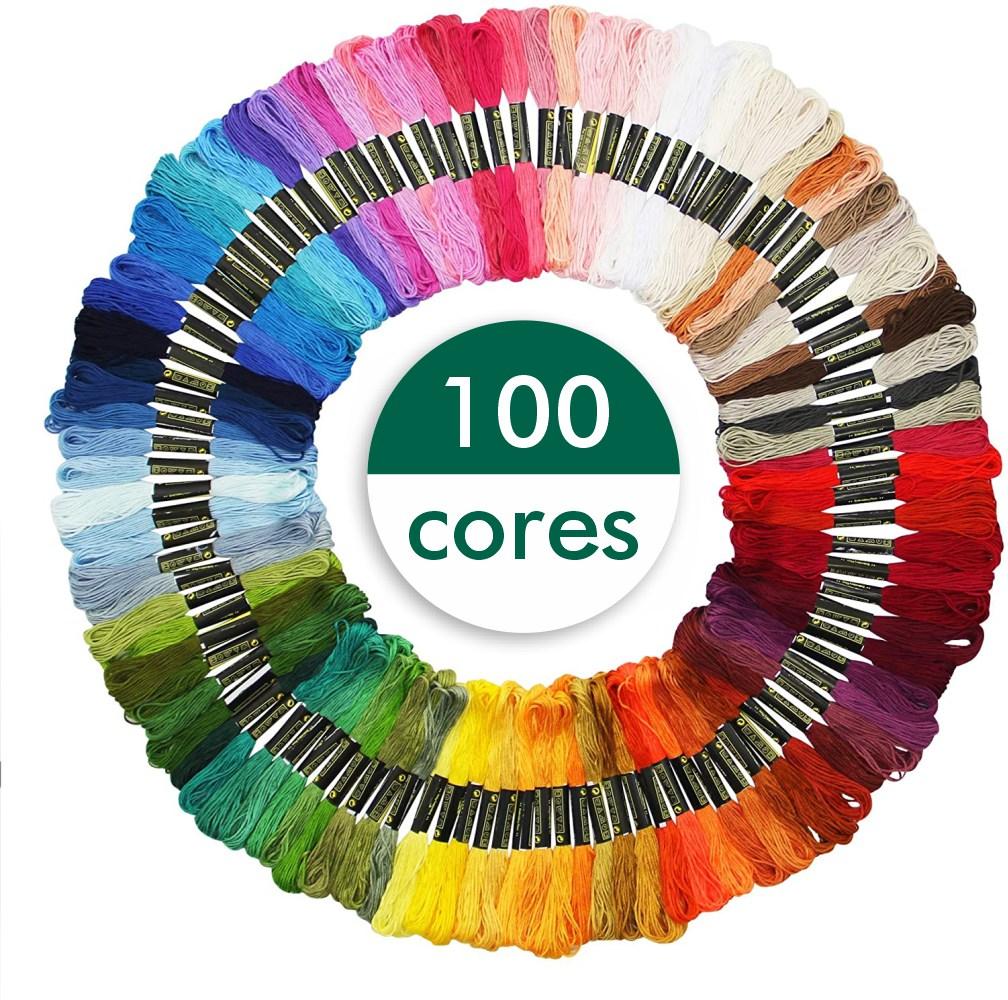 Kit 100 Meadas Para Bordado Diversas Cores Sortidas 8m/6 Fios