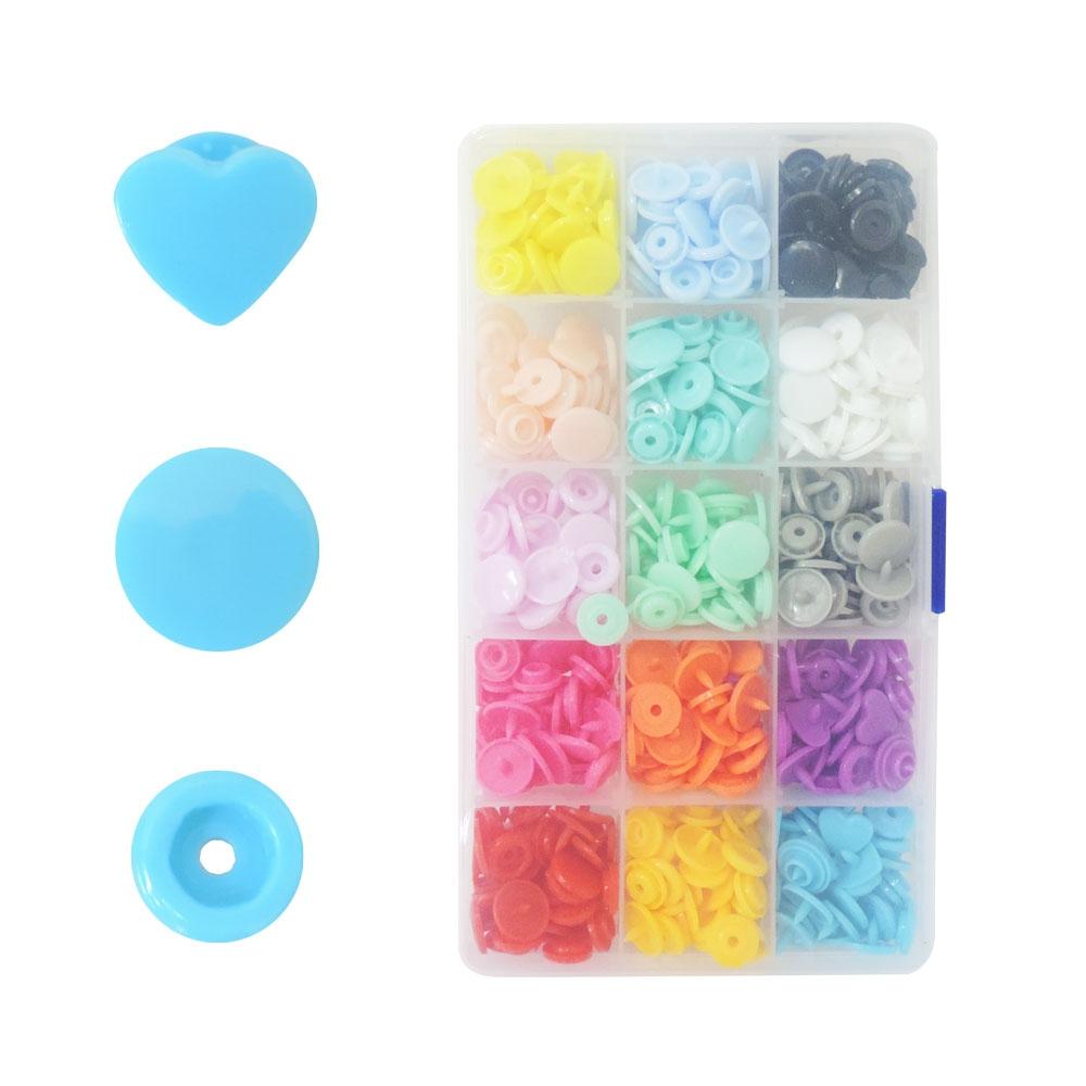 Kit 150 Botões De Pressão Coração Colorido TicTac Artesanato