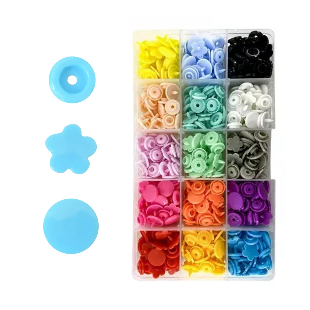 Kit 150 Botões De Pressão Flor Colorido Tic Tac Artesanato