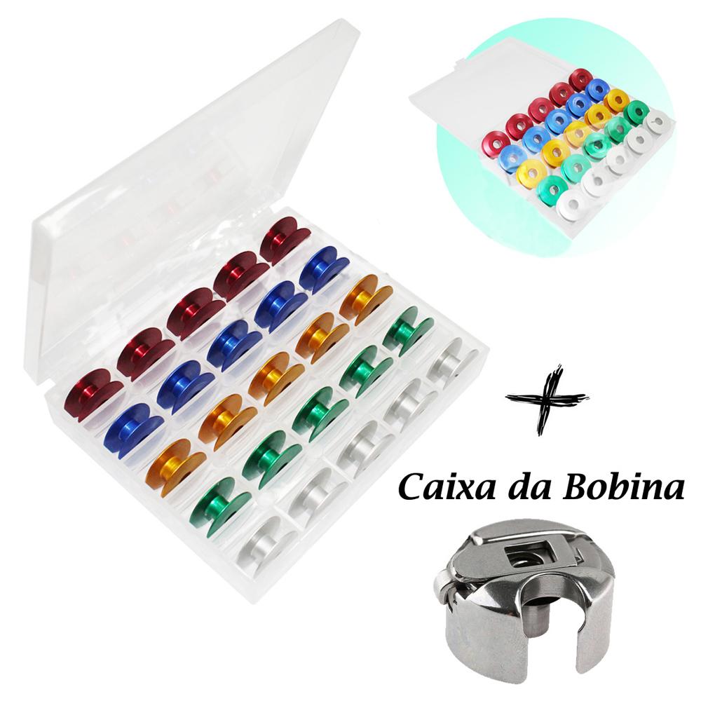 Kit 25 Bobinas Carretilha Reta Industrial Coloridas + Estojo