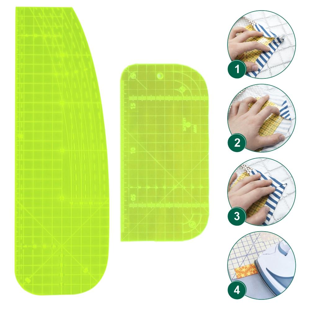 Kit 2 Réguas Passa Ferro Alfaiate Costura Artesanato Verde
