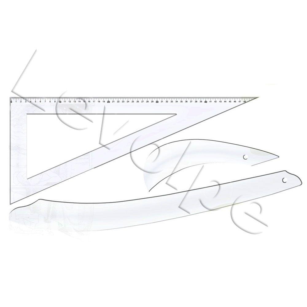 Kit 3 Réguas De Modelagem Acrílico Patchwork Scrapbook