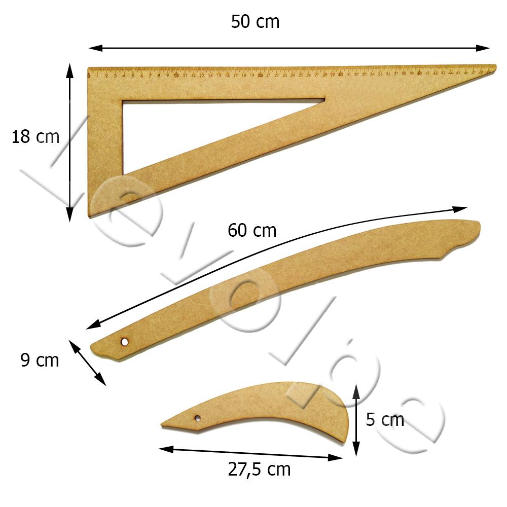 Kit 3 Réguas De Modelagem Mdf Madeira Patchwork Scrapbook