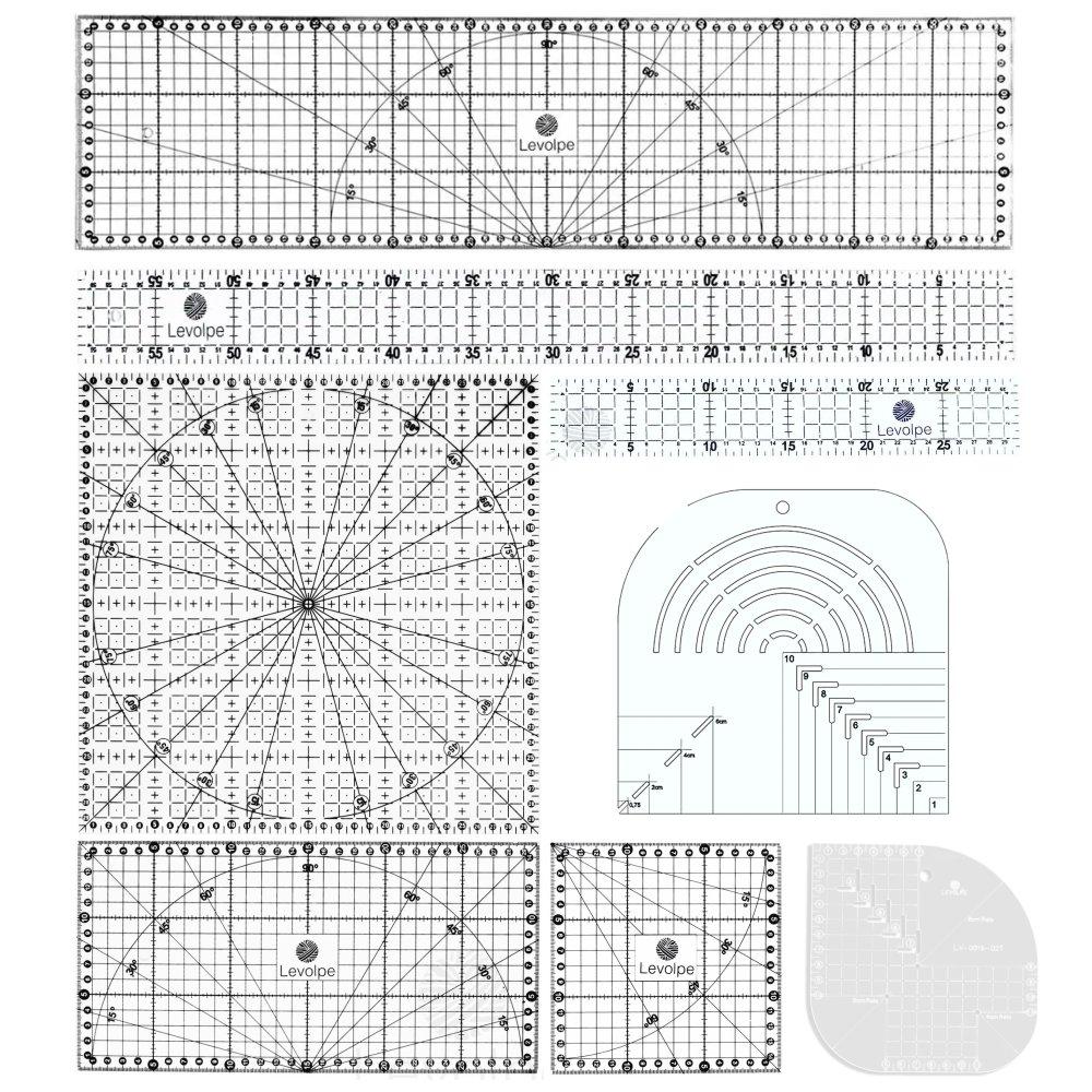 Kit 8 Réguas Patchwork Scrapbook  5x30 5x60 30x30 Caixa de Leite