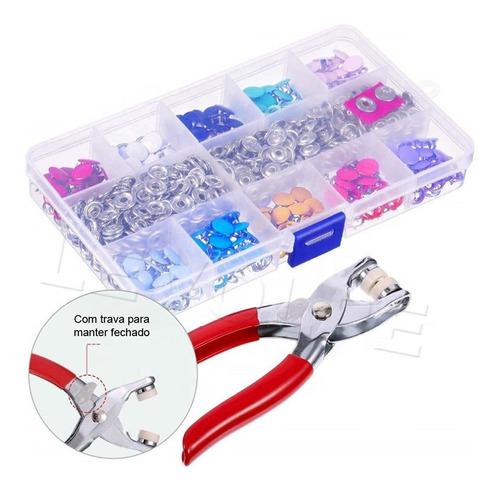 Kit Alicate Aplicador Botao Pressao Tic Tac + 200 Botões