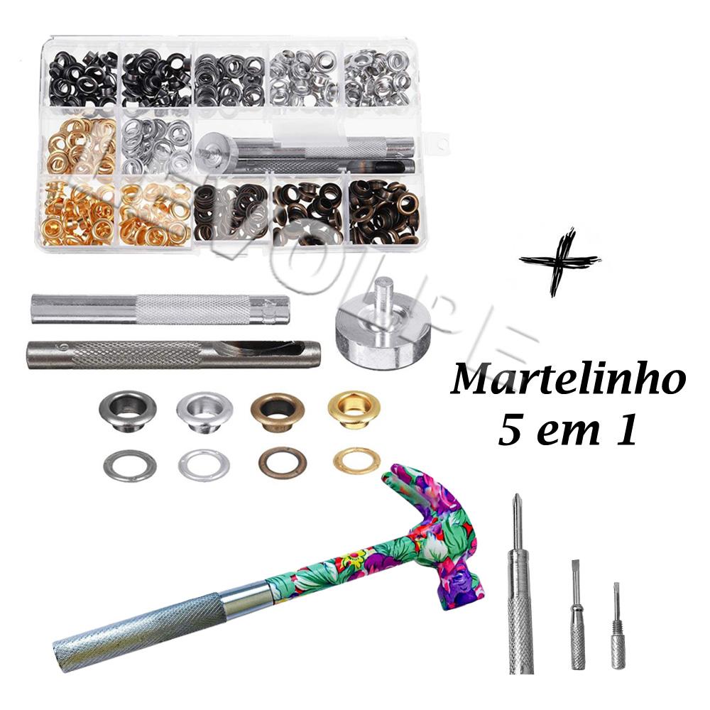 Kit Aplicador Manual E Vazador + Estojo 200 Ilhós E Arruelas  + Martelo 5 em 1