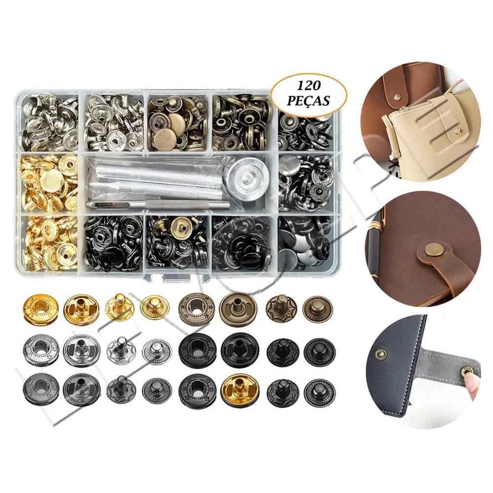 Kit Aplicador Manual + Estojo Com 120 Botões Pressão Metal