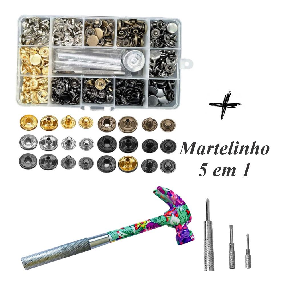 Kit Aplicador Manual + Estojo Com 120 Botões Pressão Metal + Martelo 5 em 1