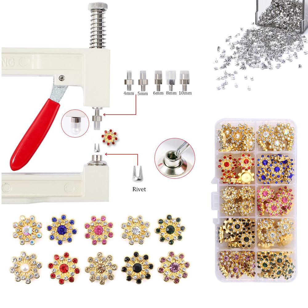 Kit Aplicador Perolas + Estojo 100 Spikes Apliques Flor