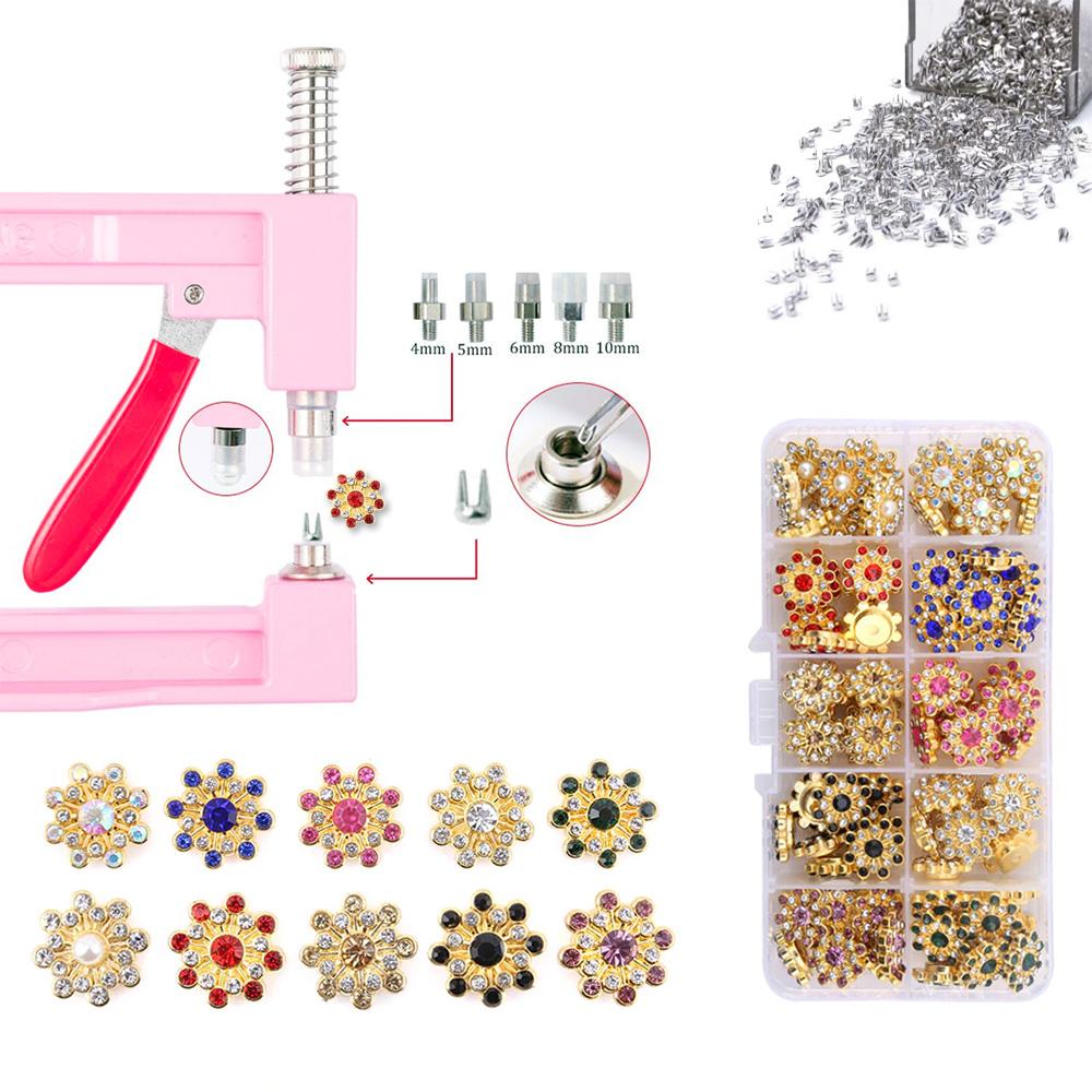 Kit Aplicador Perolas Rosa + Estojo 100 Spikes Apliques Flor