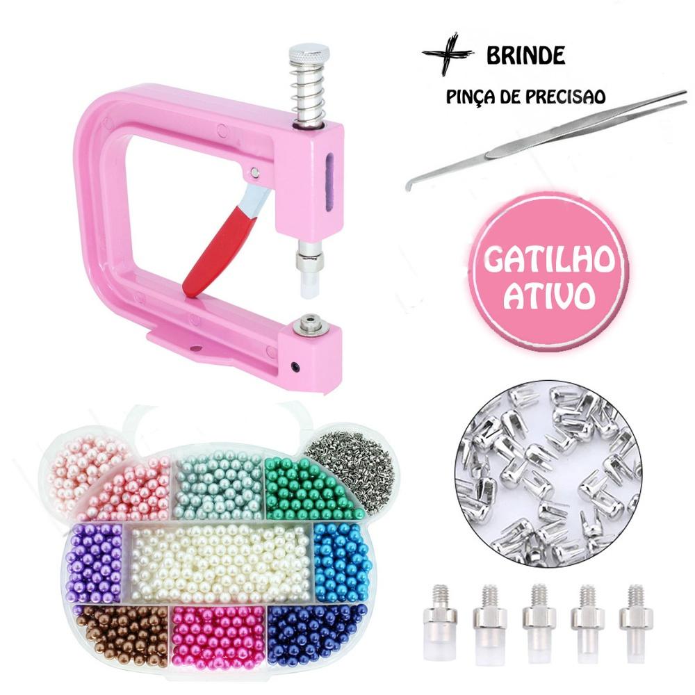 Kit Aplicador Rosa De Perolas 5 Matrizes + 1100 Perolas Coloridas Com Rebites e Estojo Organizador