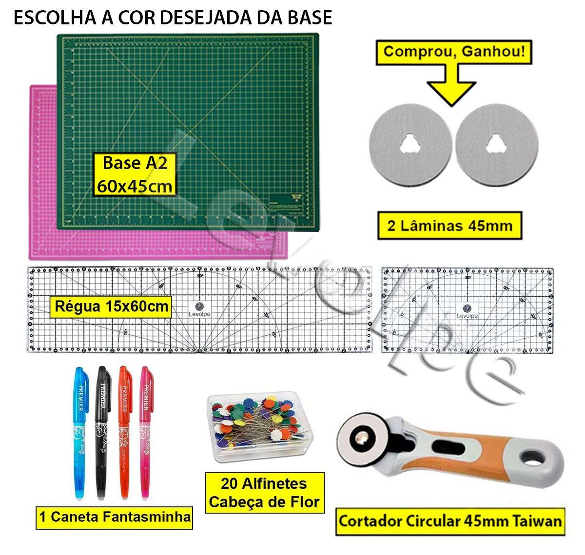 Kit Base Corte A2 60x45 Regua 15x60 + 15x30 + Cortador 45mm